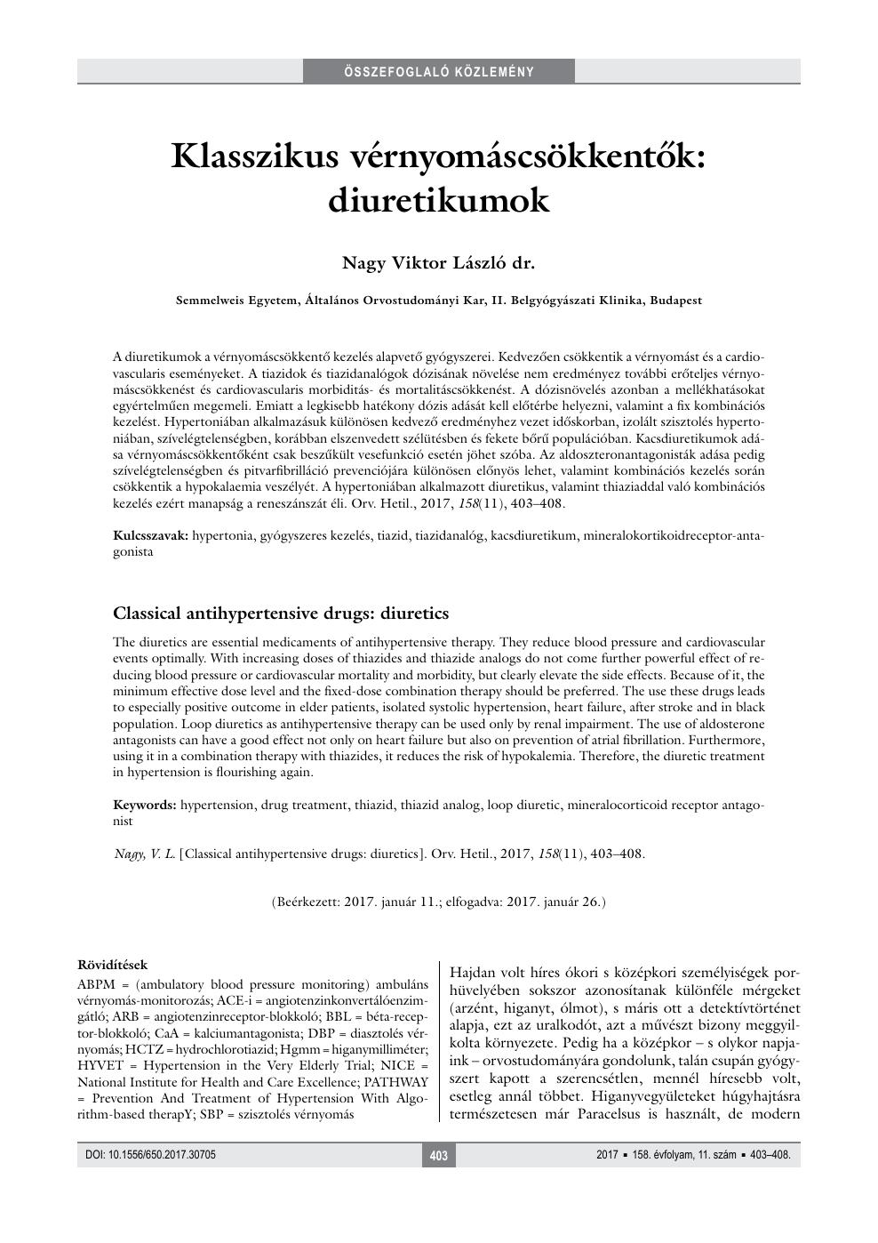 Diuretikumok a hypertonia kezelésében -