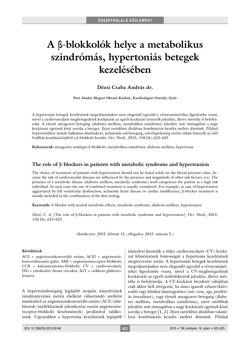 a hipertónia kezelésének legújabb irányelvei)