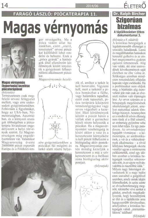 hirudoterápiás tanfolyam hipertónia esetén)