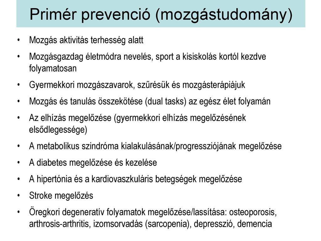 a hipertóniás tevékenységek megelőzése)