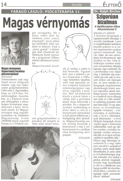 magas vérnyomású piócák megkötésének pontjai)